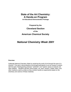 National Chemistry Week 2001 State of the Art Chemistry: A Hands-on Program