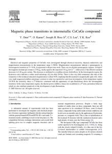 Magnetic phase transitions in intermetallic CeCuGe compound *, O. Kamer Y. Oner