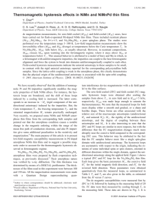 Thermomagnetic hysteresis effects in NiMn and NiMnPd thin films ¨ ner