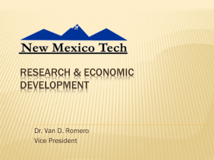RESEARCH & ECONOMIC DEVELOPMENT Dr. Van D. Romero Vice President