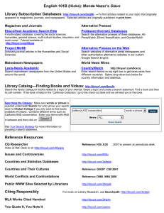 Slave Library Subscription Databases :  Magazines and Journals