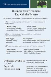 Business & Environment: Eat with the Experts