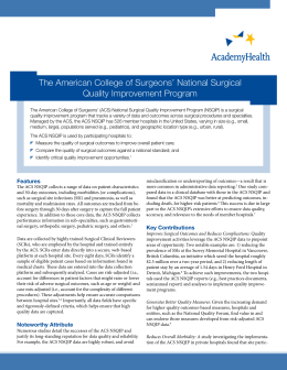 The American College of Surgeons' National Surgical Quality Improvement Program