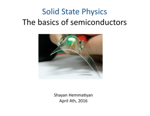 Solid	State	Physics The	basics	of	semiconductors Shayan	Hemma7yan April	4th,	2016