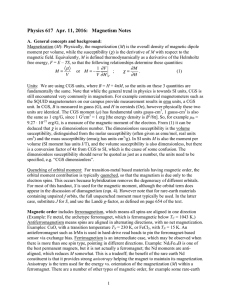 Physics 617  Apr. 11, 2016:   Magnetism Notes