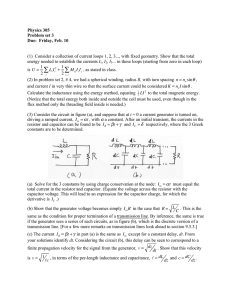 Physics 305 Problem set 3 Due:  Friday, Feb. 10