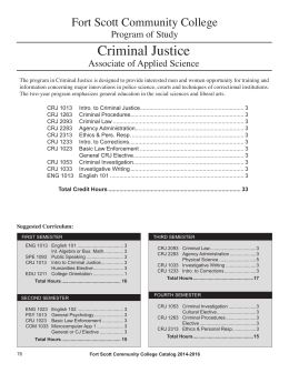 Criminal Justice Fort Scott Community College Program of Study Associate of Applied Science