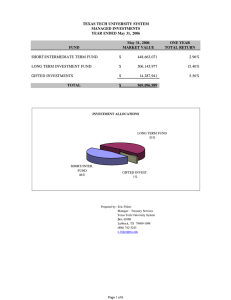 TEXAS TECH UNIVERSITY SYSTEM MANAGED INVESTMENTS YEAR ENDED May 31, 2006