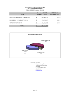 TEXAS TECH UNIVERSITY SYSTEM MANAGED INVESTMENTS YEAR ENDED November 30, 2005