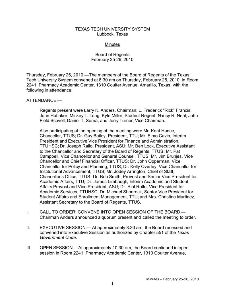 TEXAS TECH UNIVERSITY SYSTEM Lubbock, Texas Minutes