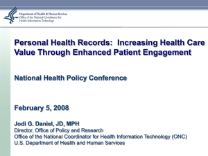 Personal Health Records: Increasing Health Care Value Through Enhanced Patient Engagement