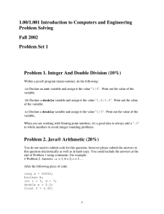 1.00/1.001 Introduction to Computers and Engineering Problem Solving Fall 2002 Problem Set 1