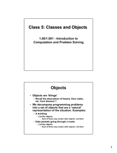 Class 5: Classes and Objects Objects 1.00/1.001 - Introduction to