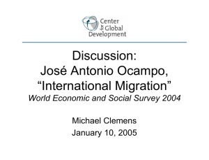 "Discussion: José Antonio Ocampo, ""International Migration"" World Economic and Social Survey 2004"