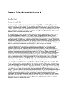 Coastal Policy Internship Update # 1  Jennifer Keck