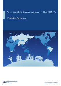 Sustainable Governance in the BRICS Executive Summary