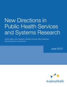 New Directions in Public Health Services and Systems Research June 2015