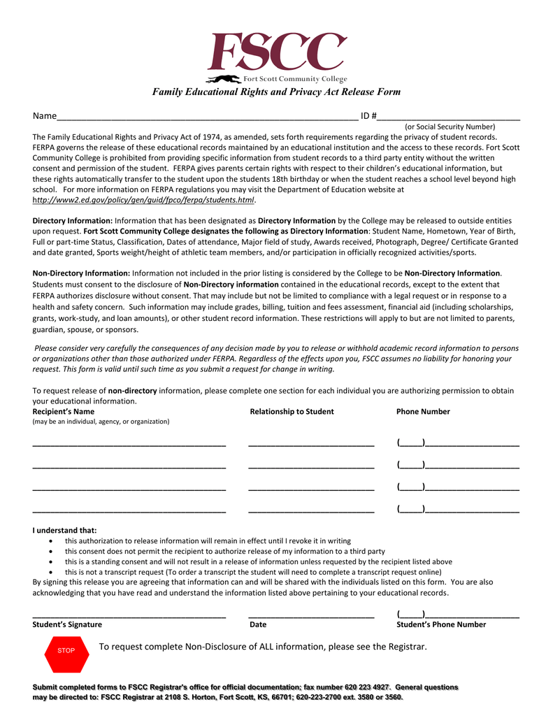 Family Educational Rights and Privacy Act Release Form ...