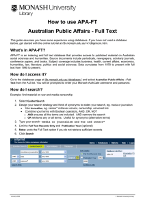 How to use APA-FT Australian Public Affairs - Full Text
