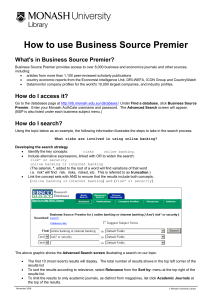 How to use Business Source Premier What's in Business Source Premier?