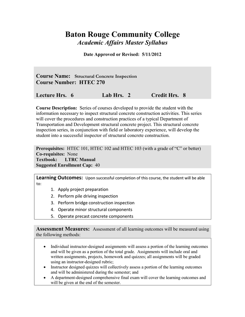 Baton Rouge Community College Academic Affairs Master