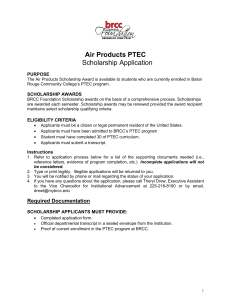 Scholarship Application Air Products PTEC PURPOSE