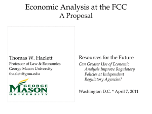 Economic Analysis at the FCC A Proposal Resources for the Future