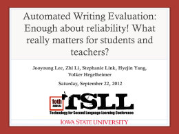Automated Writing Evaluation: Enough about reliability! What really matters for students and teachers?