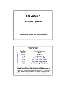 1.00 Lecture 4 Promotion Data Types, Operators None