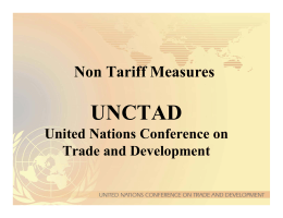 UNCTAD Non Tariff Measures United Nations Conference on Trade and Development