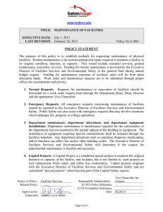 Policy No.9.1001 TITLE:  MAINTENANCE OF FACILITIES