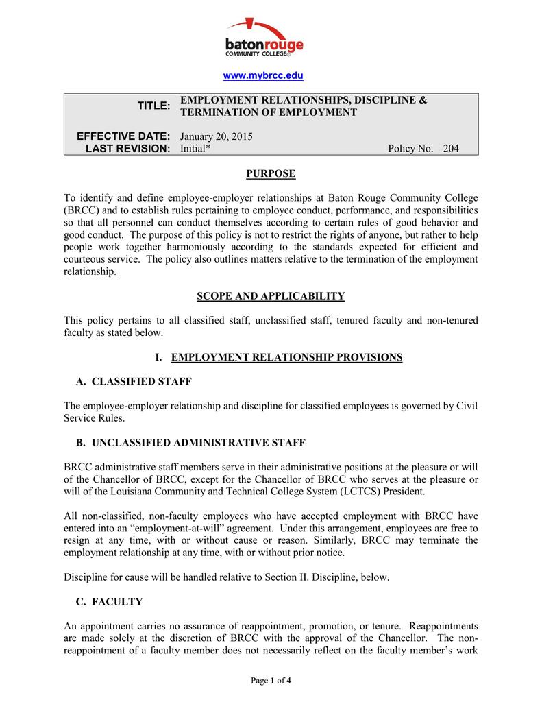 EMPLOYMENT RELATIONSHIPS, DISCIPLINE &