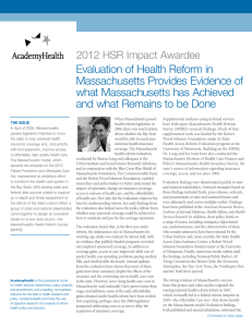 Evaluation of Health Reform in Massachusetts Provides Evidence of