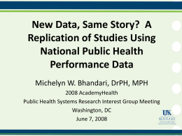 New Data, Same Story?  A Replication of Studies Using Performance Data