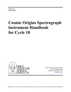 Cosmic Origins Spectrograph Instrument Handbook for Cycle 18 Space Telescope Science Institute