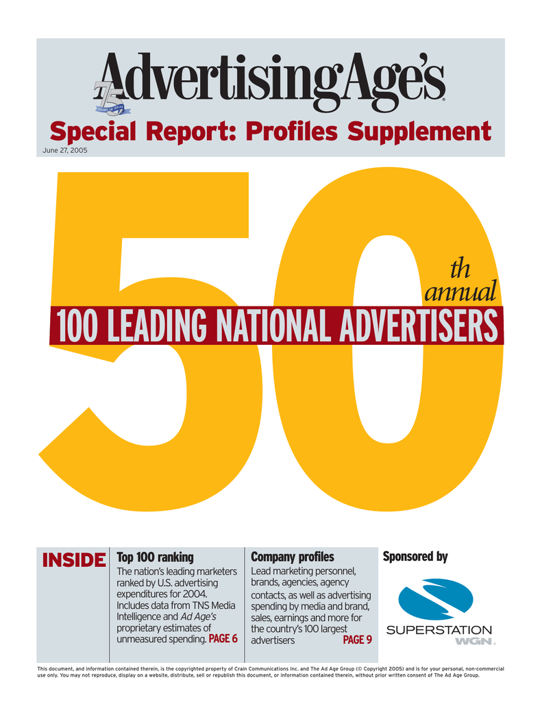 50 100 leading national advertisers th annual