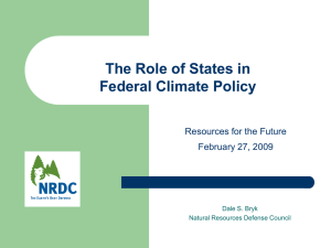 The Role of States in Federal Climate Policy Resources for the Future