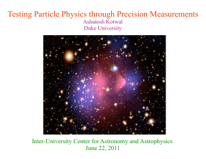 Testing Particle Physics through Precision Measurements June 22, 2011 Ashutosh Kotwal