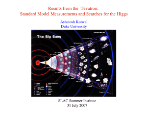 Results from the  Tevatron: SLAC Summer Institute 31 July 2007