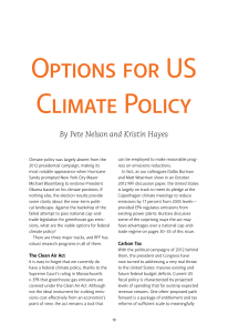 options for us climate Policy By Pete Nelson and Kristin Hayes