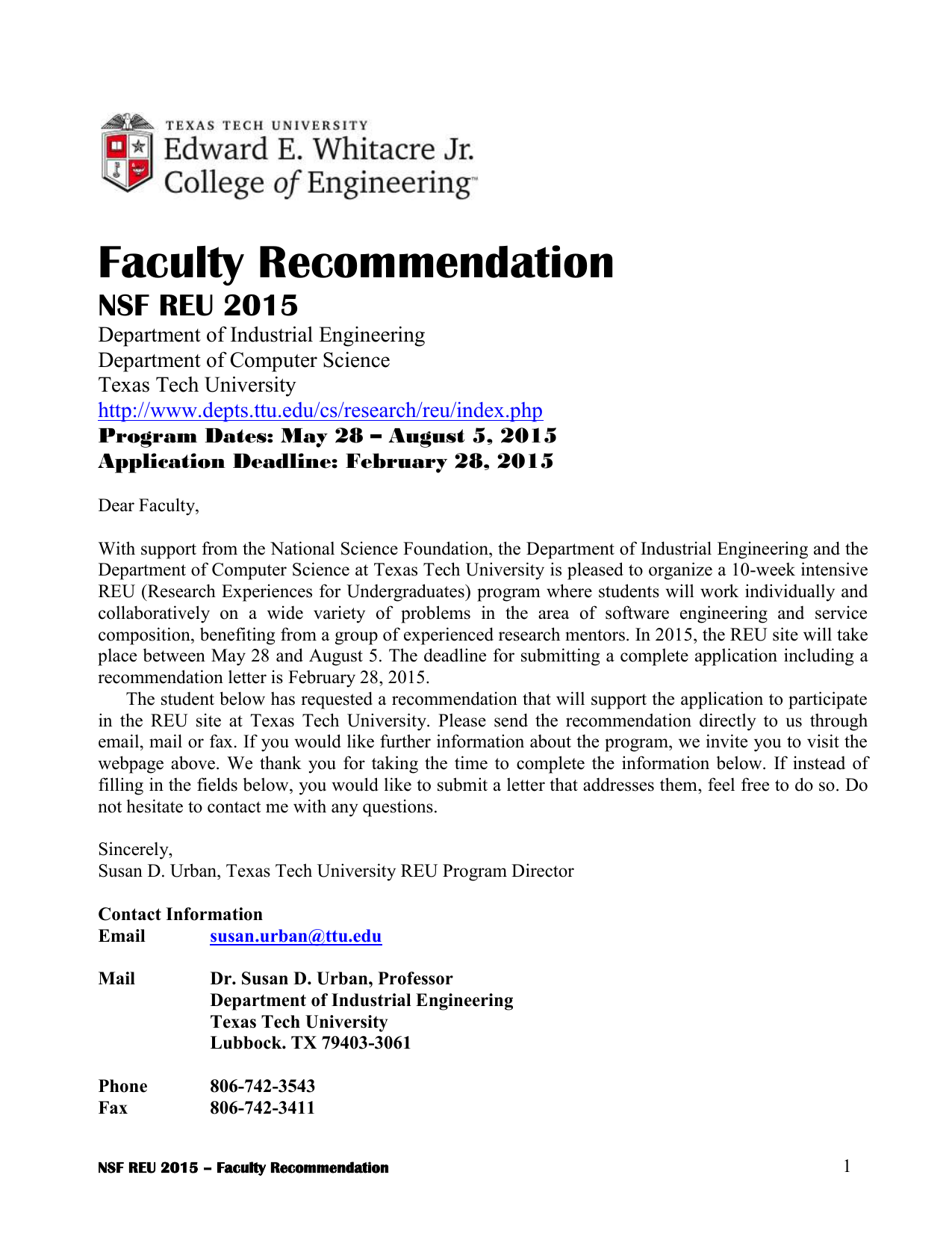 faculty recommendation nsf reu 2015 department of