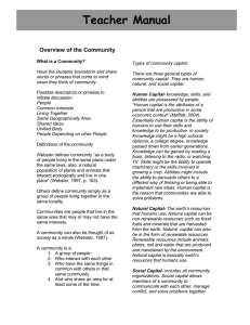 Teacher Manual  Overview of the Community
