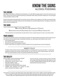 Know the signs ALCOHOL POISONING The Science