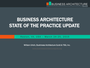 BUSINESS ARCHITECTURE STATE OF THE PRACTICE UPDATE