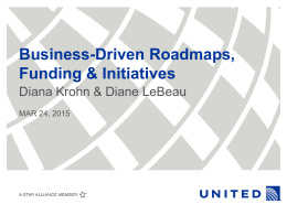 Business-Driven Roadmaps, Funding & Initiatives Diana Krohn & Diane LeBeau
