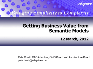 Getting Business Value from Semantic Models  12 March, 2012