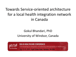 Towards Service-oriented architecture for a local health integration network in Canada