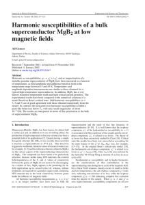 Harmonic susceptibilities of a bulk superconductor MgB at low magnetic fields