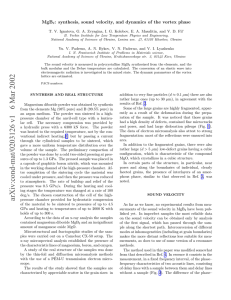 MgB : synthesis, sound velocity, and dynamics of the vortex phase