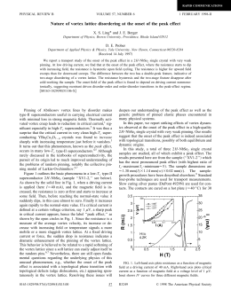 Nature of vortex lattice disordering at the onset of the... * X. S. Ling and J. E. Berger